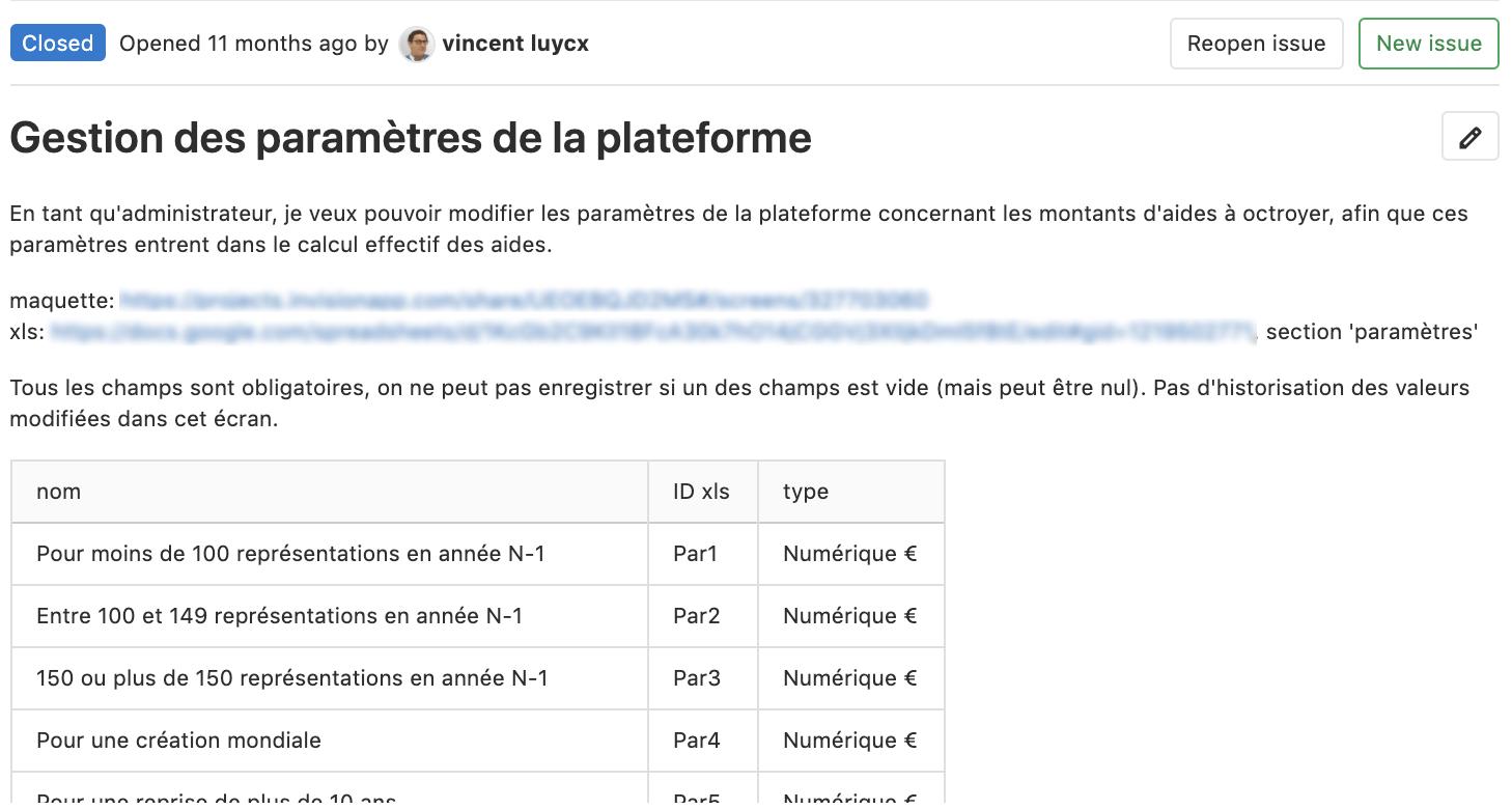 Exemple de user story