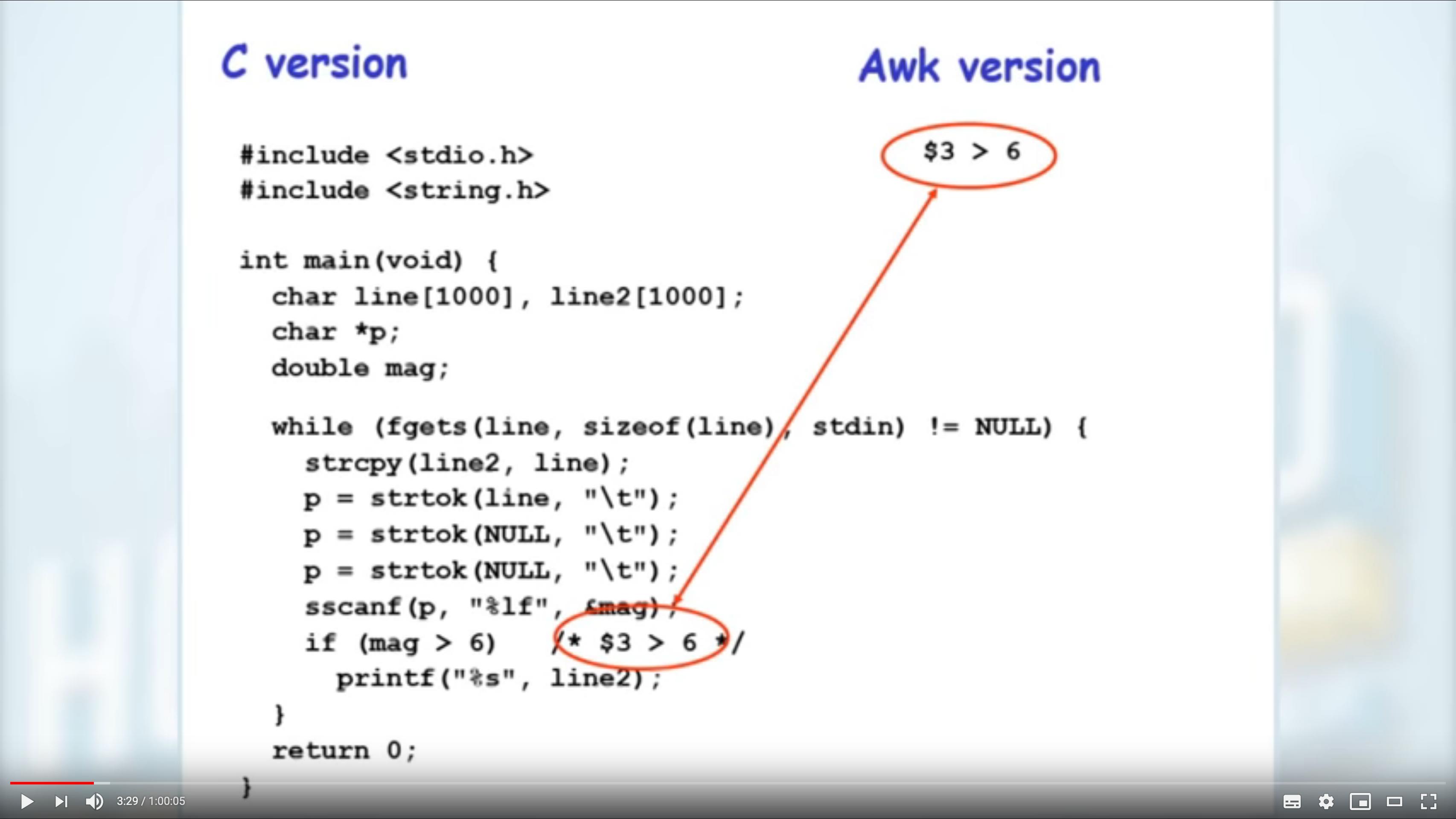 vis-à-vis entre un code écrit en langage C et son équivalent avec awk extrait d'une conférence donnée par Brian Kernighan, l'un des auteurs de awk..