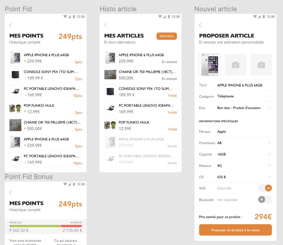 Exemple de maquettes / prototype détaillé d'une application