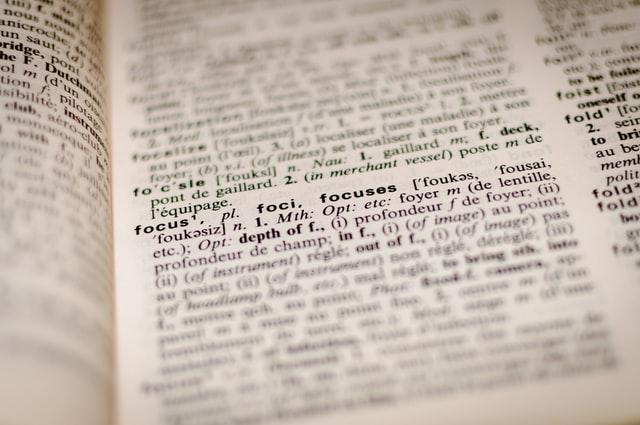 focus sur le mot focus dans un dictionnaire